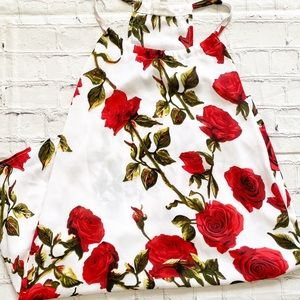 Love + Harmony White Mini Dress With Red Roses